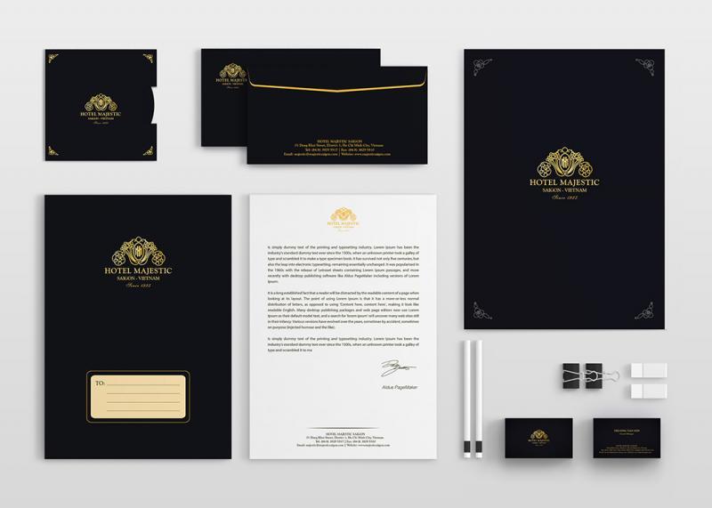 Bộ ấn phẩm văn phòng của Hotel Majestic