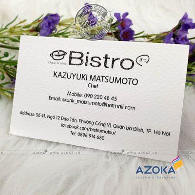 Mẫu card visit mỹ thuật Bistro