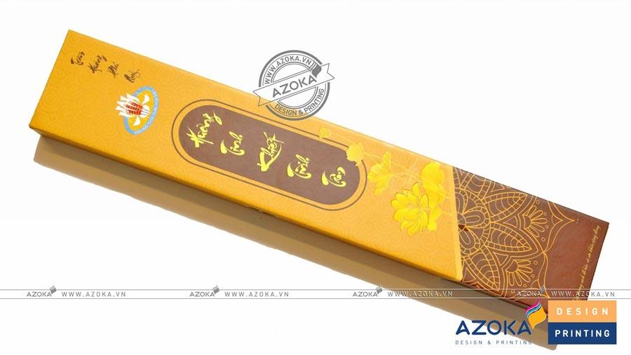 Làm hộp giấy đựng Hương Tinh Khiết Tĩnh Tâm; được in trên giấy Ivory 300 gram, cán nilon mờ 1 mặt.