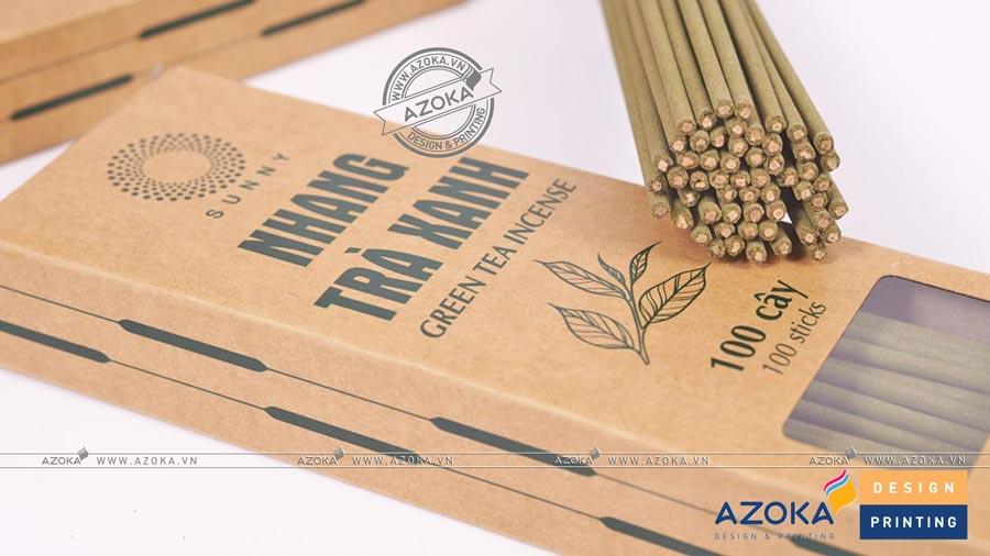 Làm hộp giấy hương nhang sạch Trà Xanh; được in 1 màu offset trên giấy kraft. Gia công có dán bóng kính đẹp.
