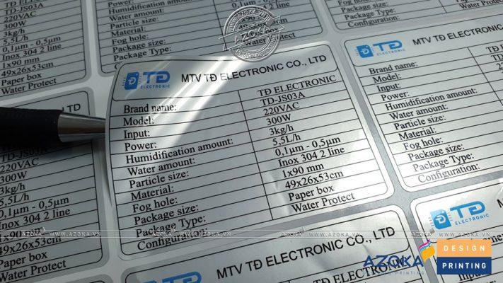 Mẫu decal bạc dán thiết bị điện
