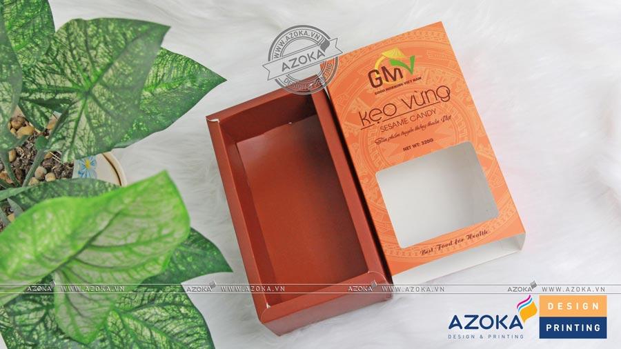 Mẫu hộp giấy cửa sổ bóng kính kẹo vừng