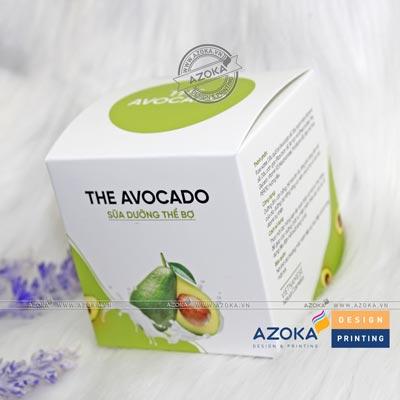 Mẫu hộp giấy mỹ phẩm sữa dưỡng thể Avocado