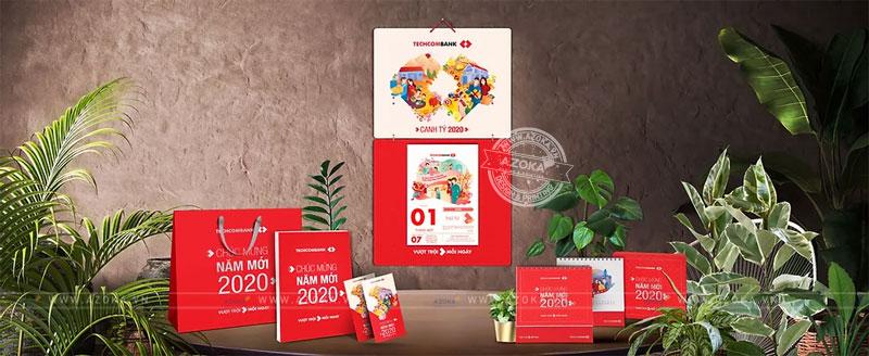Mẫu lịch Tết thiết kế độc quyền của Techcombank