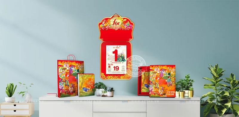 Mẫu lịch bloc in theo phôi có chủ đề chữ Lộc
