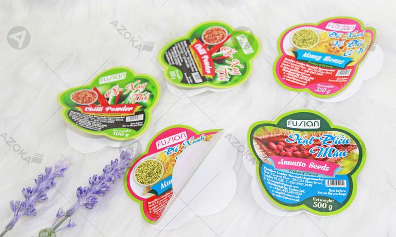 Mẫu tem nhãn sản phẩm của thương hiệu Fusian do Azoka thiết kế và in ấn