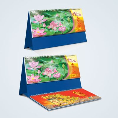 Mẫu lịch để bàn đẹp 2021 chủ đề Sen Việt