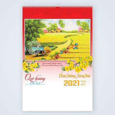 Mẫu lịch treo tường 7 tờ 2021 chủ đề Quê hương