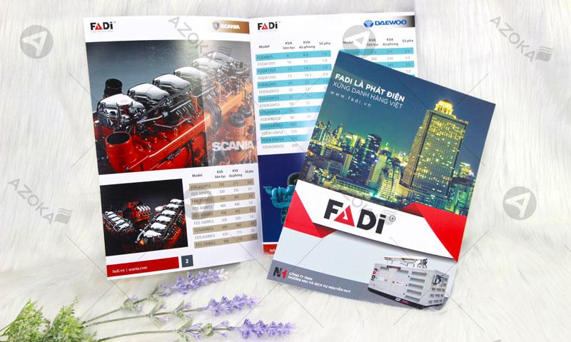 In catalogue khổ A4 giới thiệu máy phát điện FADI