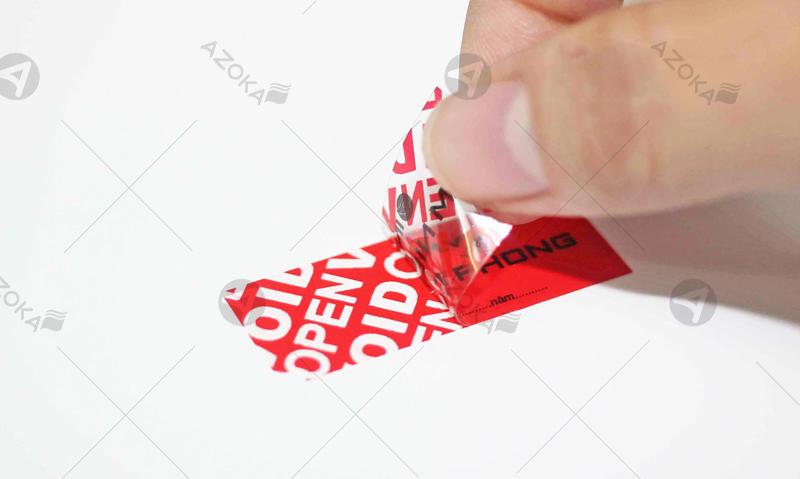 Tem niêm phong sau khi bị tháo gỡ sẽ hiện cảnh báo: Opened, đã mở, Void, tên công ty, logo công ty tùy theo yêu cầu khách hàng