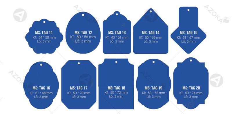 Hình dạng và kích thước tag quần áo có mã số từ 11 đến 20