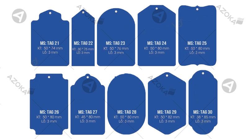 Hình dạng và kích thước mác quần áo có mã số từ 21 đến 30