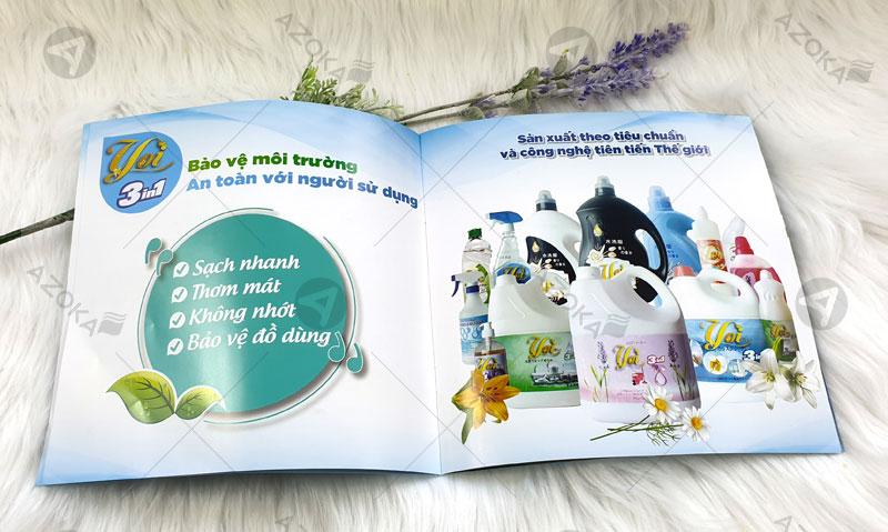 Mẫu catalogue khổ 20x20 của bột giặt YOI do Azoka thiết kế và in ấn